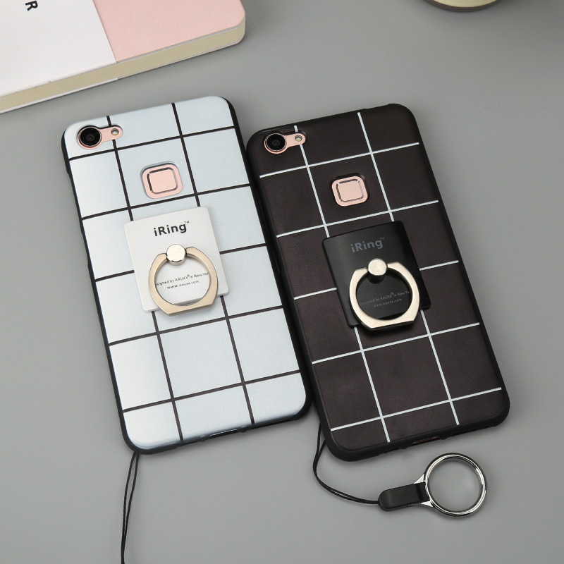 Bbk vivox6plus x6 mobile phone shell with lanyard male and female models black and white plaid plaid ring bracket shell tide