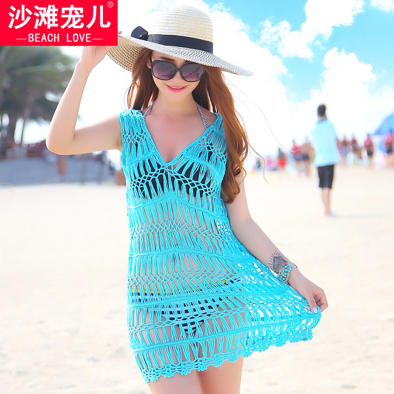 0d507ccbf0d8e Get Quotations · Beach darling beach resort sexy bikini skirt swimsuit  openwork crochet blouse sunscreen female coat