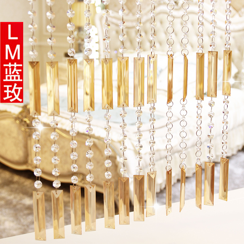 Bead curtain curtain off the living room champagne gold strip + transparent octagonal beads crystal bead curtain finished decorative curtain curtain shoe