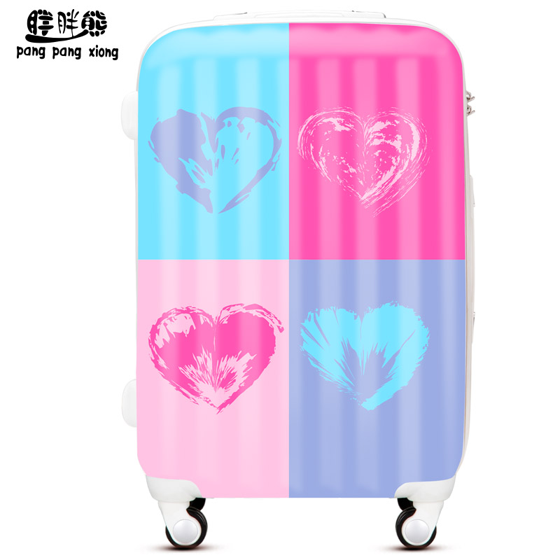 Bear fat fashion heart ms. printing suitcase trolley case suitcase boarding suitcase caster drag me TY052
