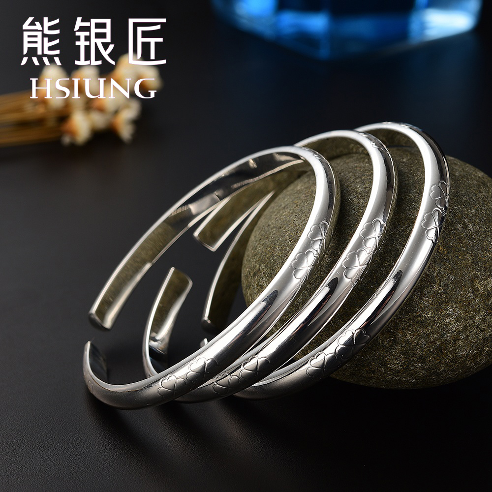 Bear silversmith silver smooth opening 999 fine silver sterling silver bracelet clover female korean fashion bracelet to send his girlfriend