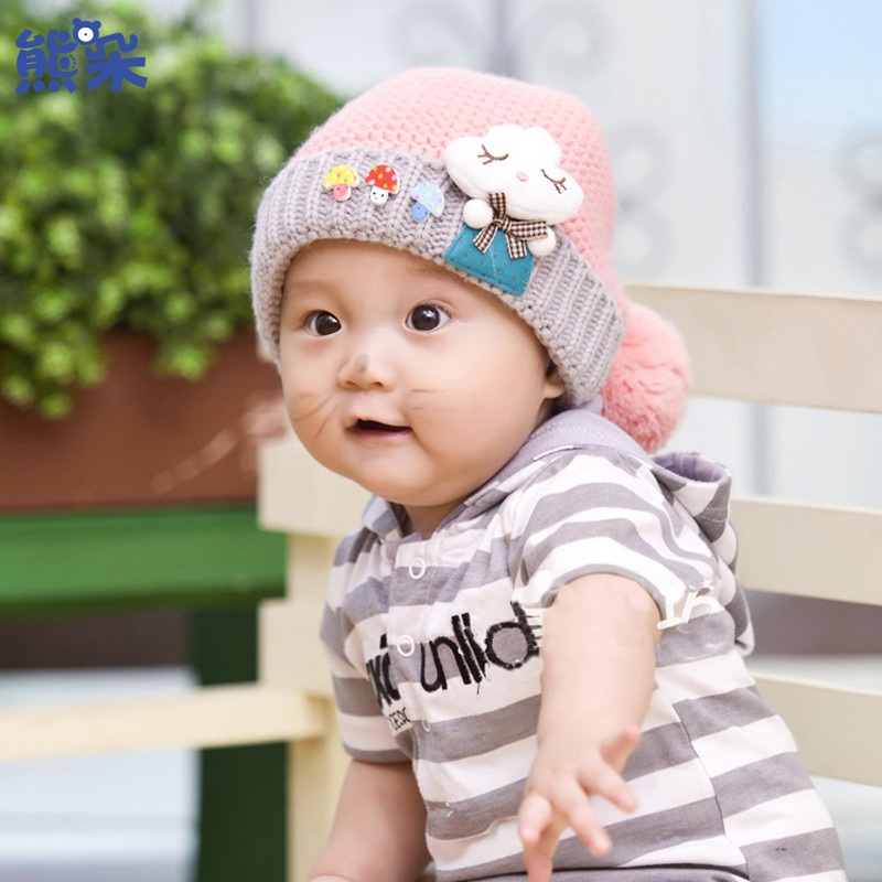e494f7a9835 Get Quotations · Bears flowers in autumn and winter baby hat for boys and  girls 0-1-