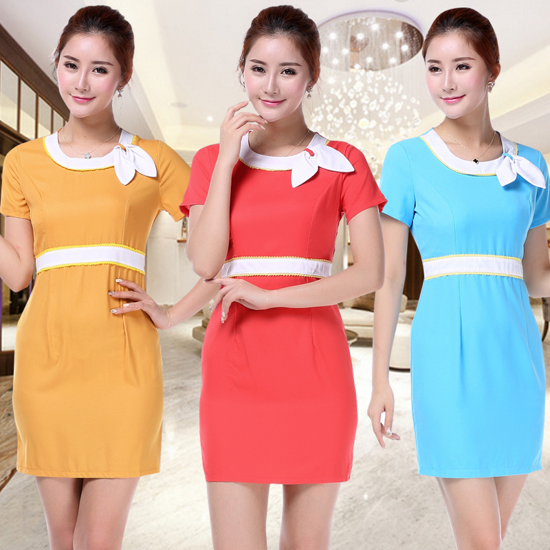 Beautician beauty salon overalls overalls sleeved dress hotel work clothes summer female summer beauty salon beautician dress clothes