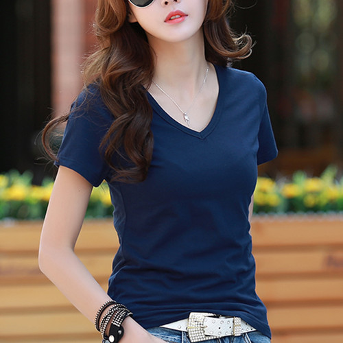Beautiful flowers 2016 summer new female was thin slim v-neck t-shirt female wild korean version of a solid color short sleeve t-shirt tide
