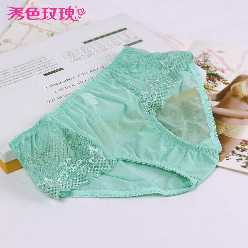 Beauty rose hollow transparent lace panties female sexy low waist shorts cute girl underwear sweet beauty