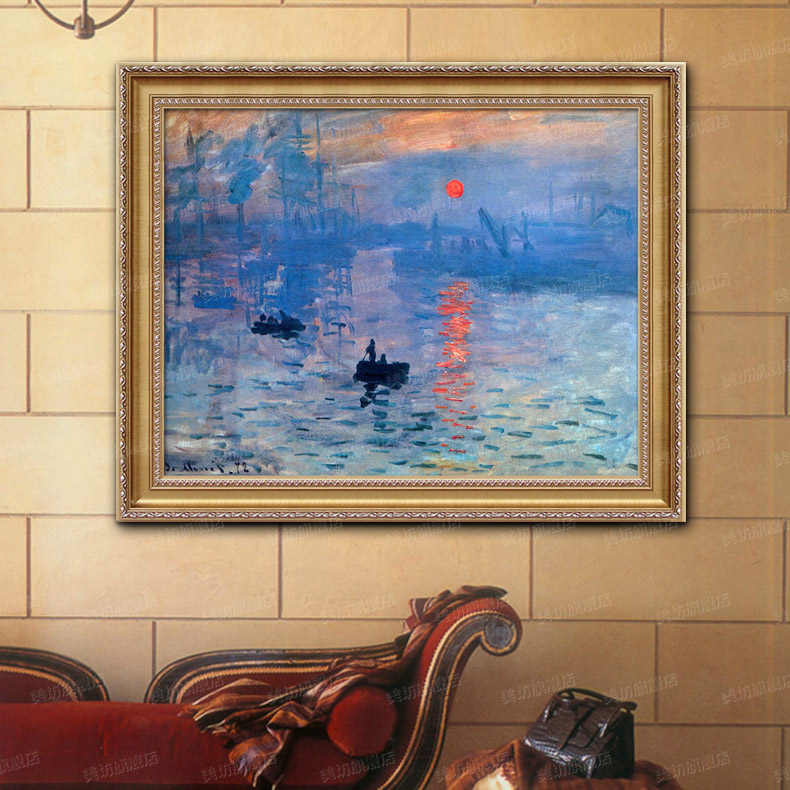 Beauty square painted oil painting world famous paintings monet impression sunrise landscape of european restaurant entrance living room bedroom paintings
