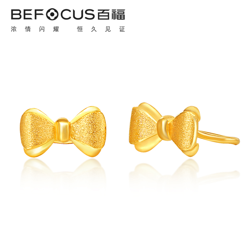 Bedford足金matte gold bow earrings jewelry gold earrings female models earrings earrings to send his girlfriend