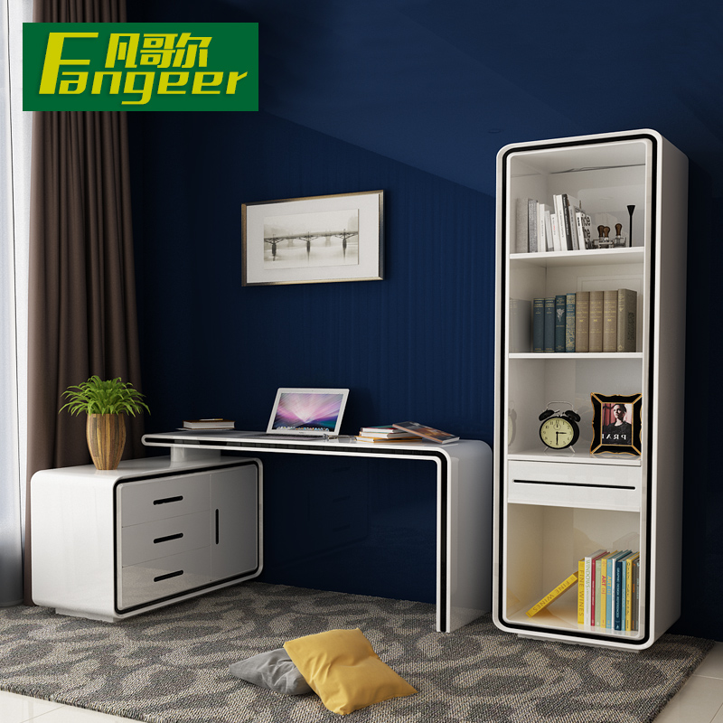 Bedroom home assembled rotating desktop computer desk corner desk modern minimalist desk bookcase desk combination bookcase
