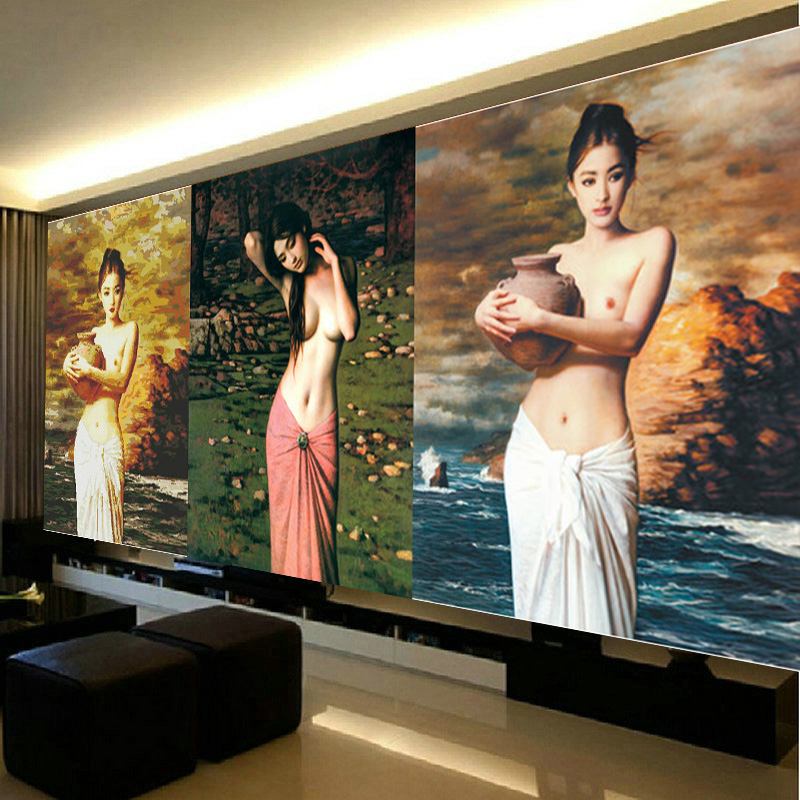Bedroom stitch stitch new living room series 3d printing stitch tao tao female beauty hold nude figure painting