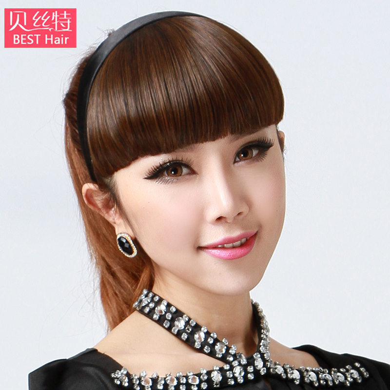 Bei site wig female hair bands bangs sideburns qi liu fake bangs oblique bangs wig piece straight bangs real hair piece