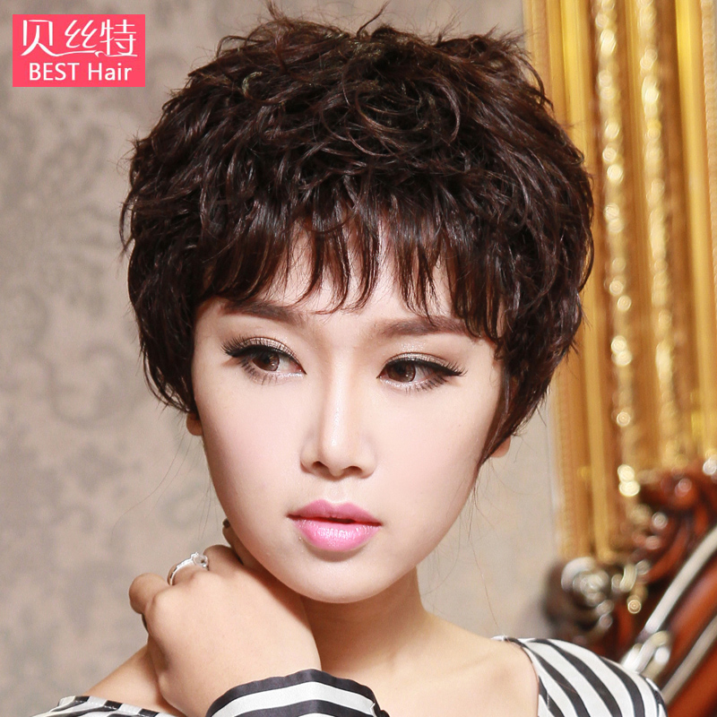 Bei site wig texture hot short hair slightly curled ms. middle-aged mom entire top fake hair short curly hair fluffy temperament