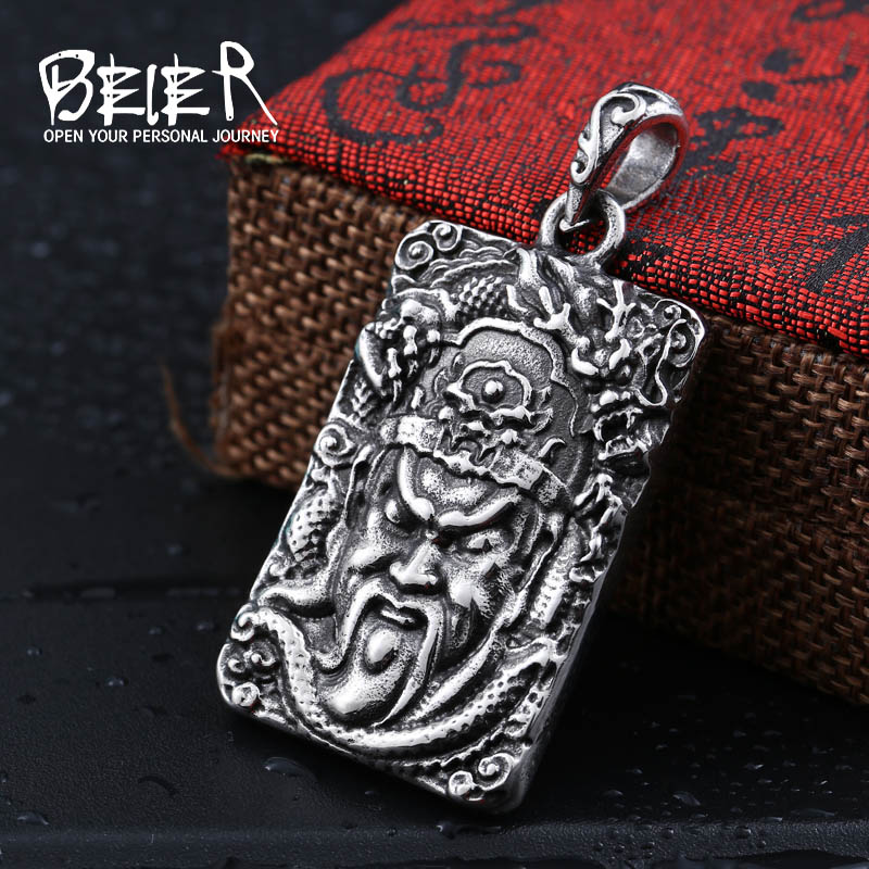 Beier men guan gong guan gong pendants men influx of people retro domineering titanium steel pendant necklace korean fashion jewelry evil