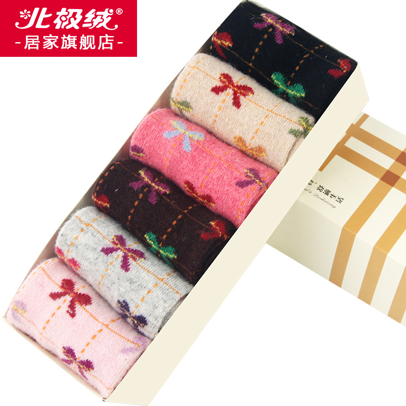 Beiji rong home 6 pairs of boxed ms. fall and winter thick socks in tube socks rabbit wool socks warm socks female