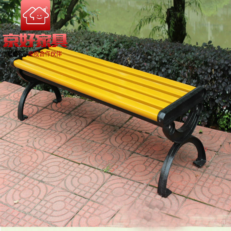 [Beijing] good park bench chair lounge chair backless woodiness castiron outdoor leisure chair c67