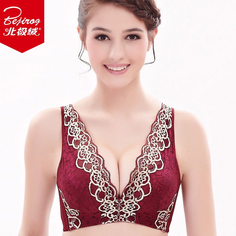Bejirog/beiji rong no rims sexy lace bra deep v gather comfortable adjustable underwear underwear