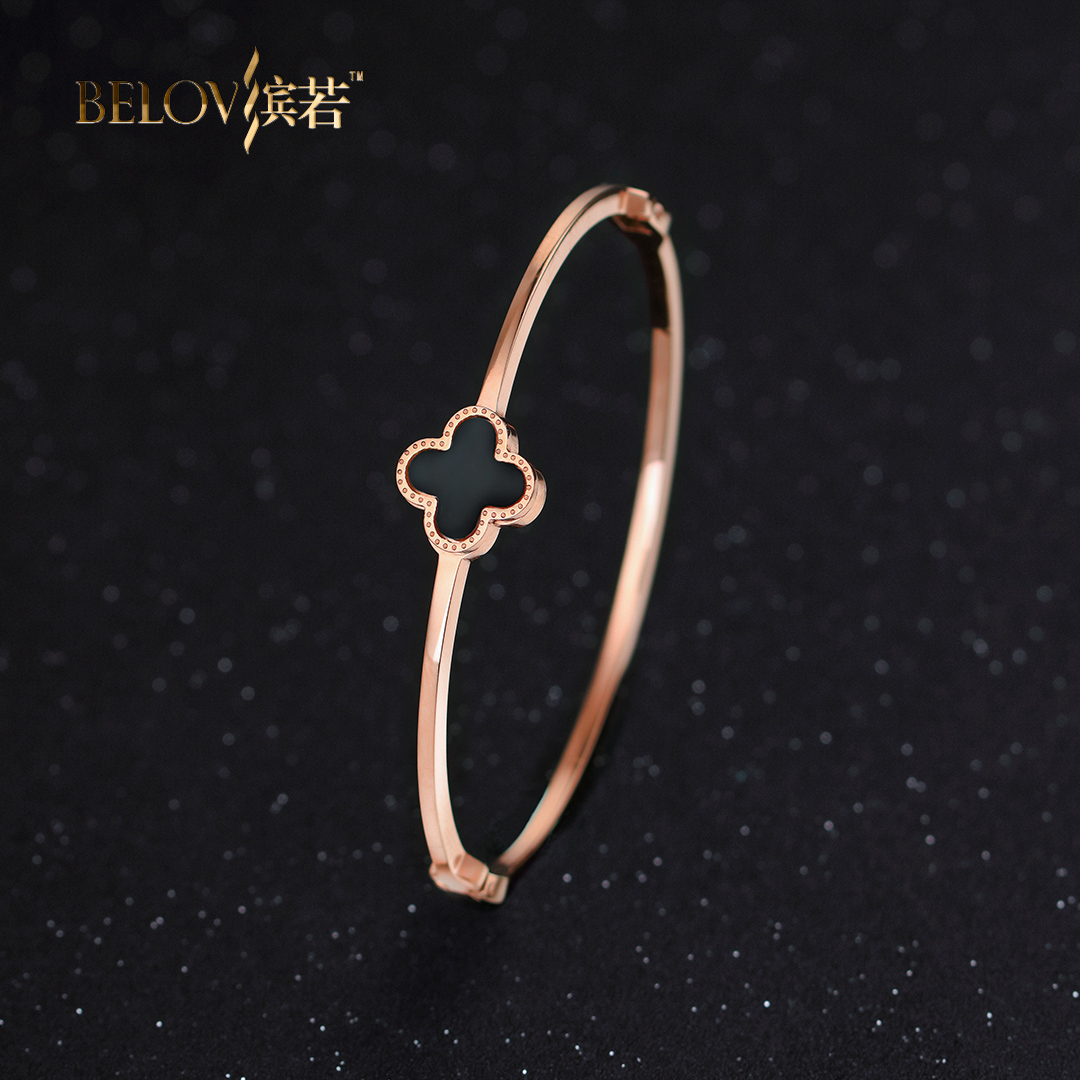 Belov/if bin k rose gold plated bracelet clover female korean jewelry korean version of the simple titanium steel bracelet