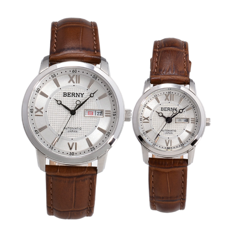 Bernie genuine leather strap automatic mechanical watch couple watch one pair price korean version of the trend of men and women watch watch
