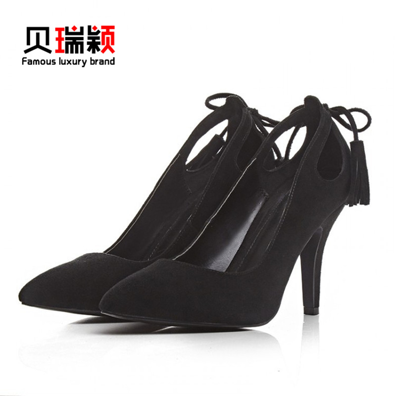 Berry glumes custom spring models 2016 korean version of the shallow mouth singles leather shoes elegant fine with high heels pointed shoes to help low