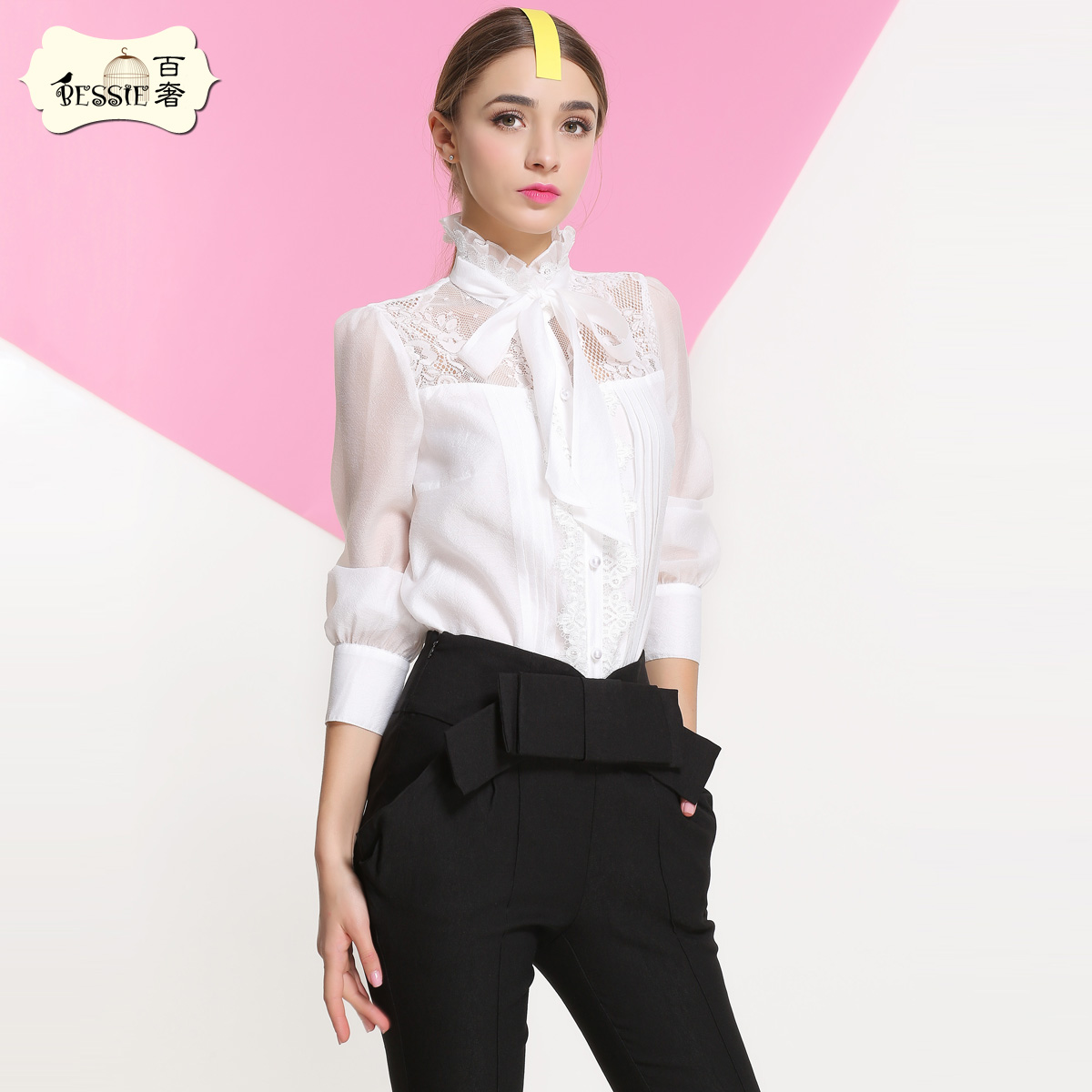 Bessie 2016 new spring and summer long sleeve lace shirt korean version of sweet luxury bow chiffon shirt female