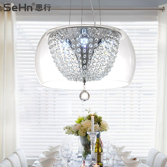 Best line of creative glass dining chandelier modern minimalist led crystal chandelier european minimalist chandelier personality round shape