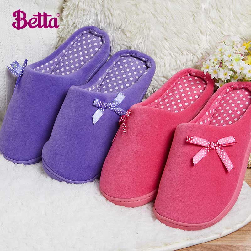 Betta autumn and simple polka dot bow cotton slippers women slippers winter indoor warm home cotton slippers shoes winter thick crust