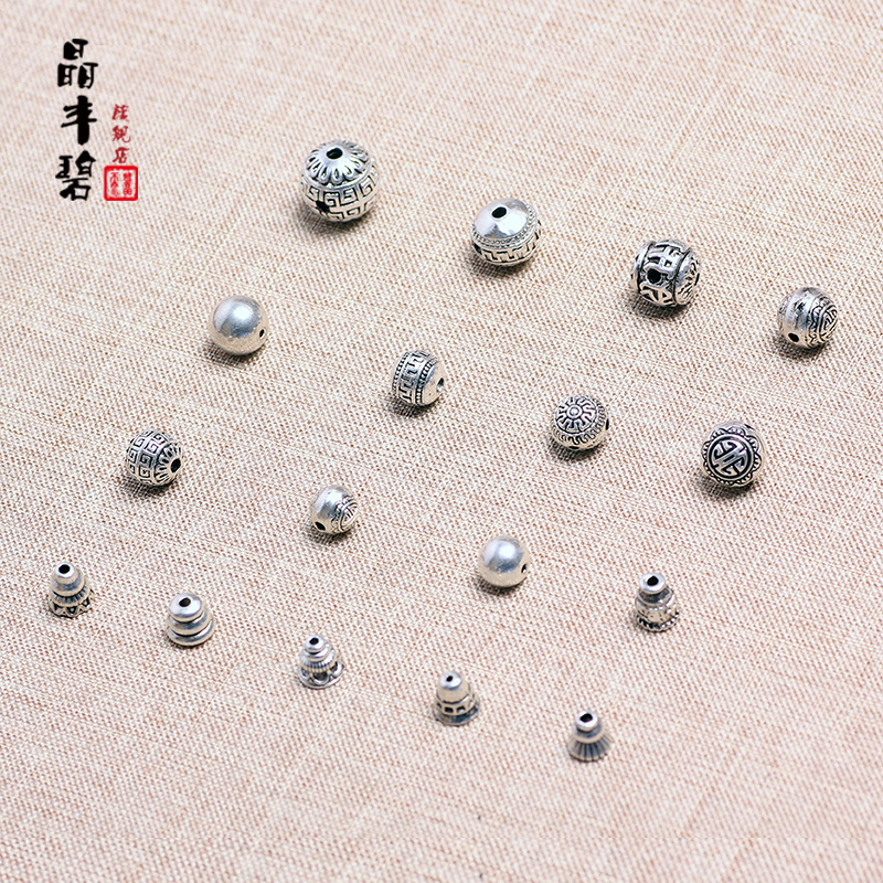 Bi feng jing tibetan silver spacer beads diy accessories tibetan silver jewelry tibetan silver hollow tee fitting accessories