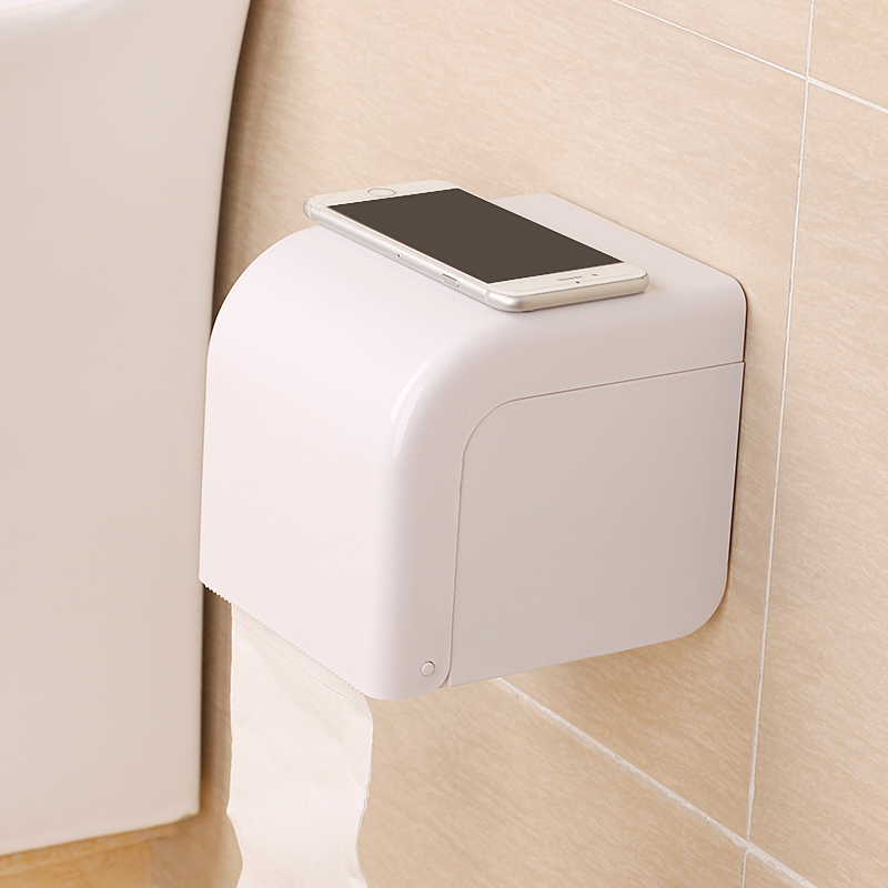 BEEGAGA Wall-Mounted Sucker WC White Tissue Box Waterproof Toilet Paper Holder
