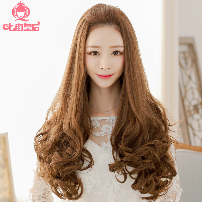 Big wave of hair wig long curly hair half wigs pear head fluffy girls with long hair wig lifelike female wig