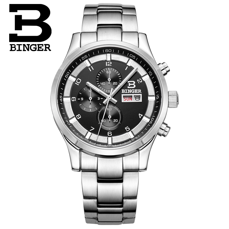 Binger accusative helmsman needle qualities of black face digital steel sports watch three men ran second chronograph quartz watch