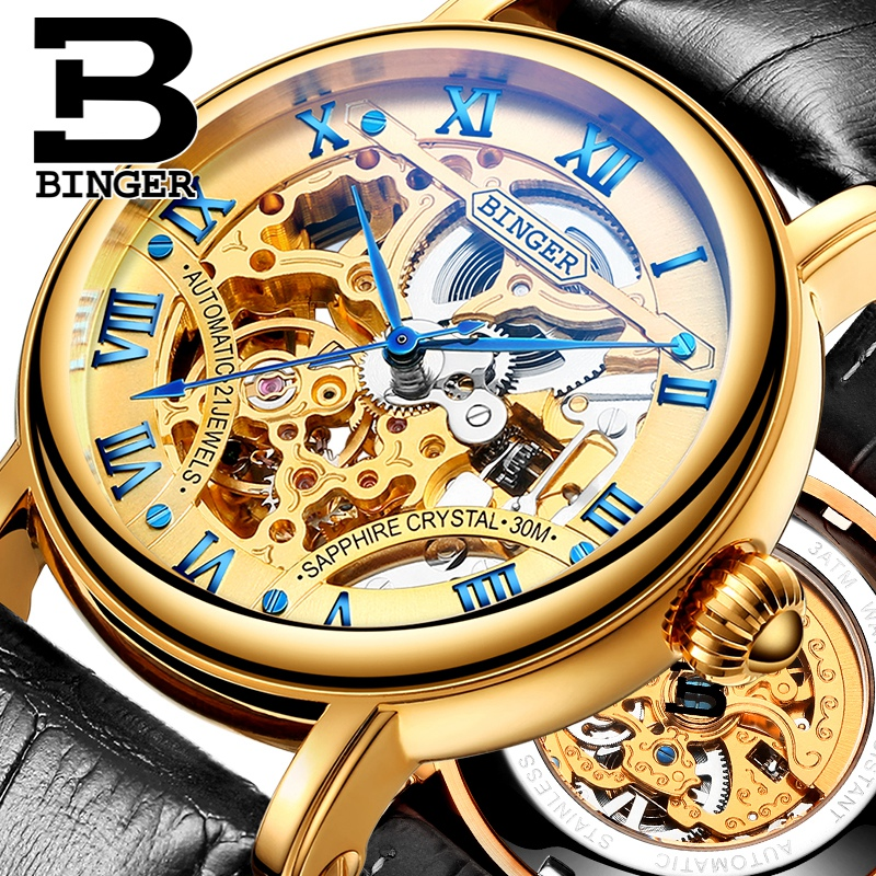 Binger accusative men watch men automatic mechanical watch love sided hollow waterproof male watch black belt gold surface