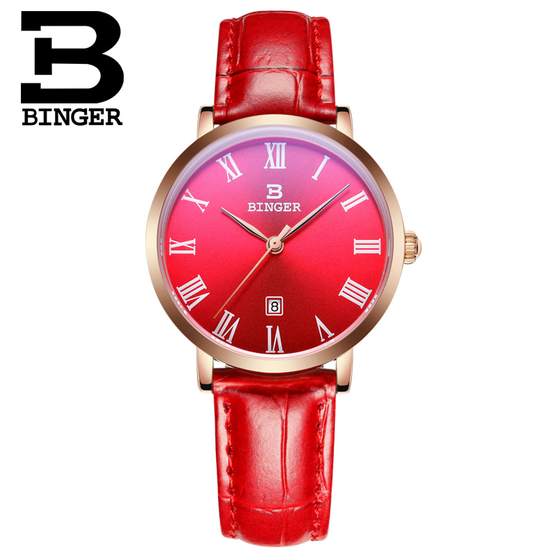 Binger accusative steel watches ladies quartz watch fashion trends waterproof retro female form thin elegant rose gold red red face