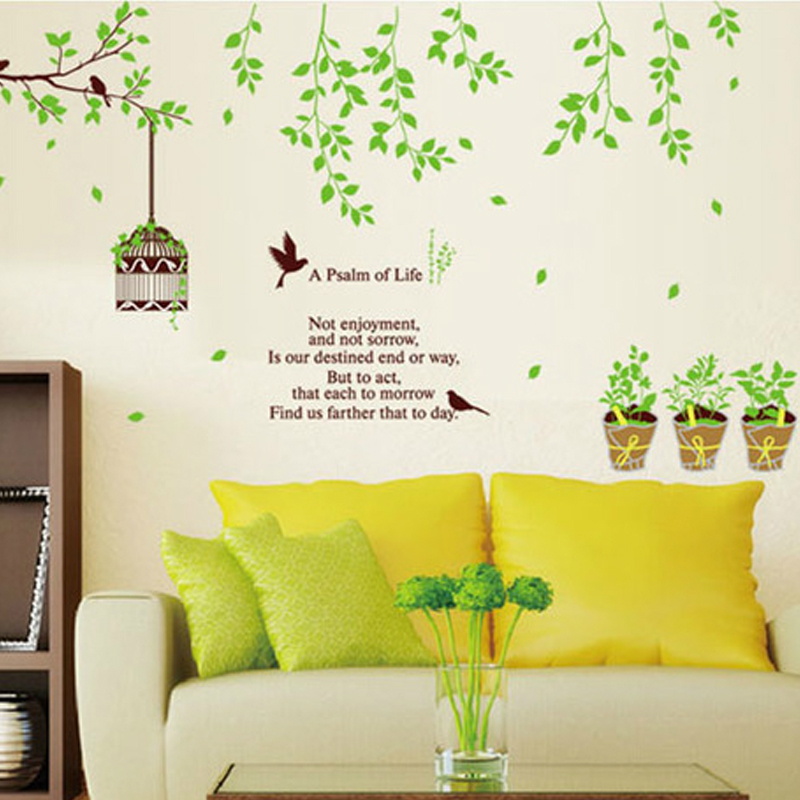 Birdcage flower vine wall stickers removable adhesive sticker wallpaper living room sofa bedroom tv background wall decoration