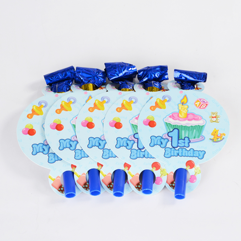 Birthday blow blowing dragon/child party supplies/blow roll/whistle/a pack 6/blue pink Crown blowing dragon