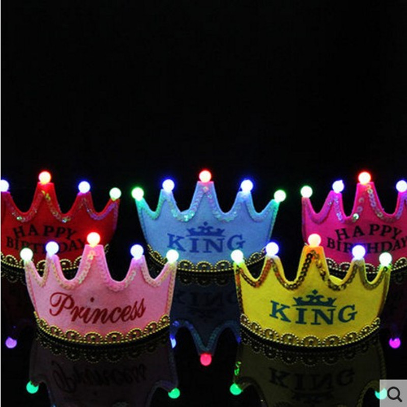 Birthday hat birthday party dress party supplies luminous led flashlight king children's crown princess birthday hat