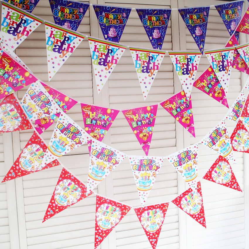 Birthday party scene dress up party decoration supplies furnished pennant pull the child hanging flag bunting banner brace
