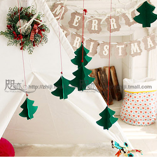 Birthday party supplies christmas decorations arranged dress stereoscopic kindergarten children's room ornaments garland of pine