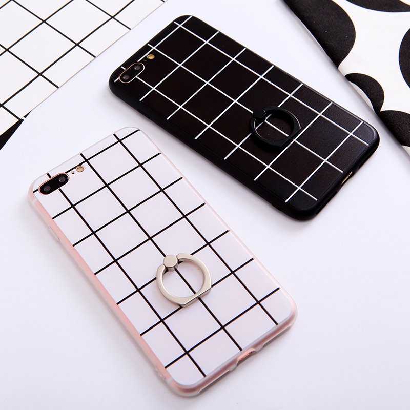 Black and white plaid apple iphone7 phone shell mobile phone ring bracket 63,1 7plus soft drop resistance silicone sleeve shell tide