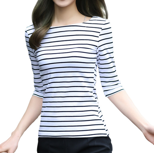 Black and white striped sleeve t-shirt women bottoming shirt collar slim sleeve t shirt cotton spring and autumn women's t-shirts