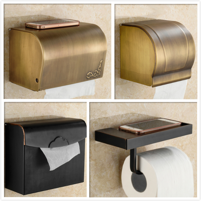 Black bronze european antique copper paper towel rack enclosed waterproof roll toilet paper holder large carton box pumping tray