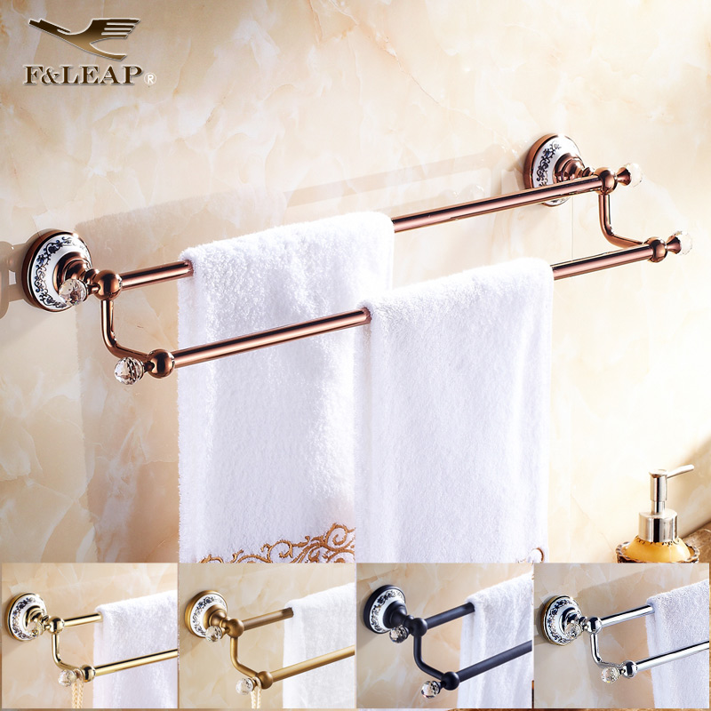 Black double rod bathroom accessories european antique bathroom towel rack towel rack full of copper rose gold bathroom towel bar