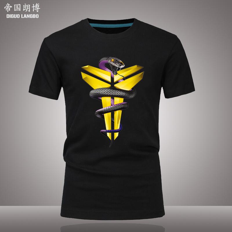 Black mamba kobe bryant basketball clothes short sleeve t-shirt adolescent students plus fertilizer to increase men's summer sports clothes