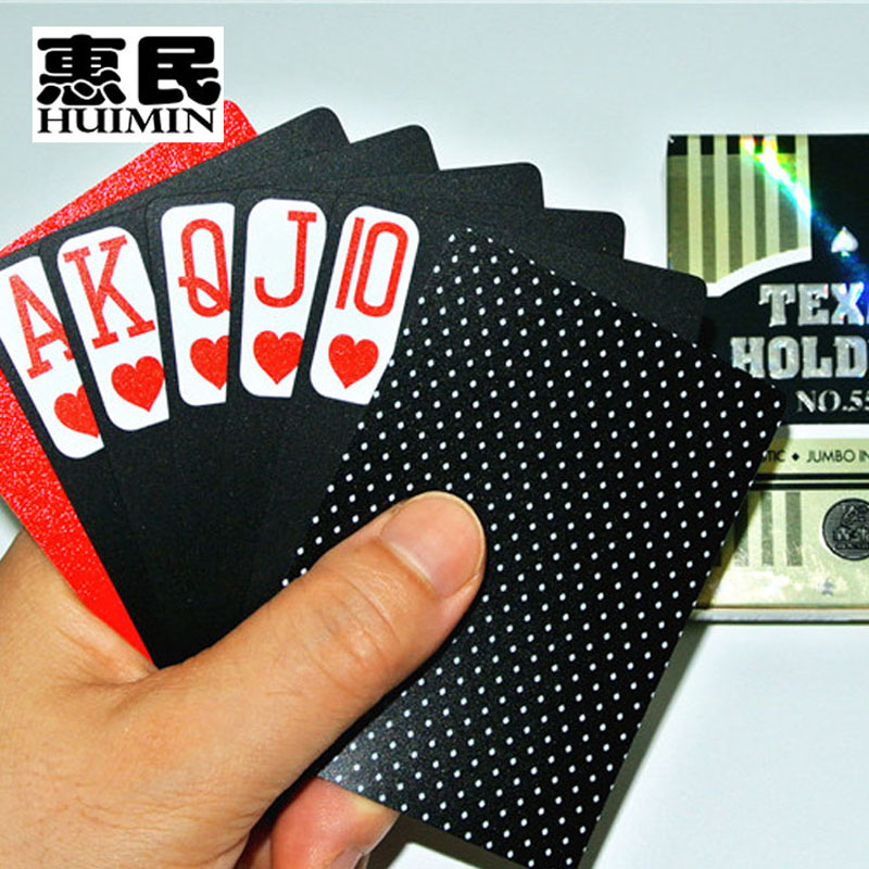 Black stars 555 characters plastic poker texas bighorn code sided matte black pvc substrates