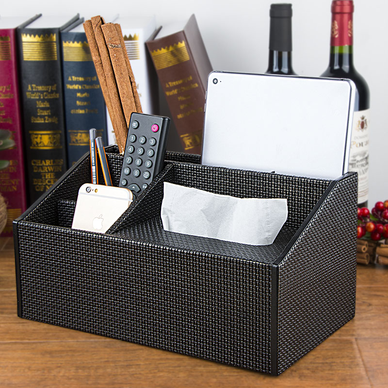 Black weave pattern dog parlor car with a home desktop remote control wooden storage box creative european leather tissue box