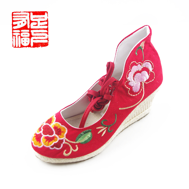 Blessed with a single step ã] new small garden embroidered shoes national wind female shoes fashion shoes slope with flax b837