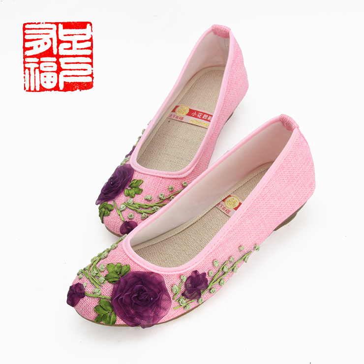 Blessed with a single step ã] small garden embroidered shoes tendon at the end of linen wedges shoes china wind family shoes new c721