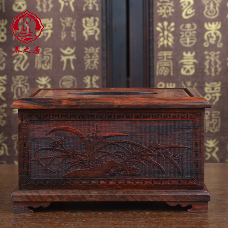 Blossoming tissue box tissue box pumping pumping paper carton box napkin box red rosewood classical home merlin bamboo chrysanthemum pattern