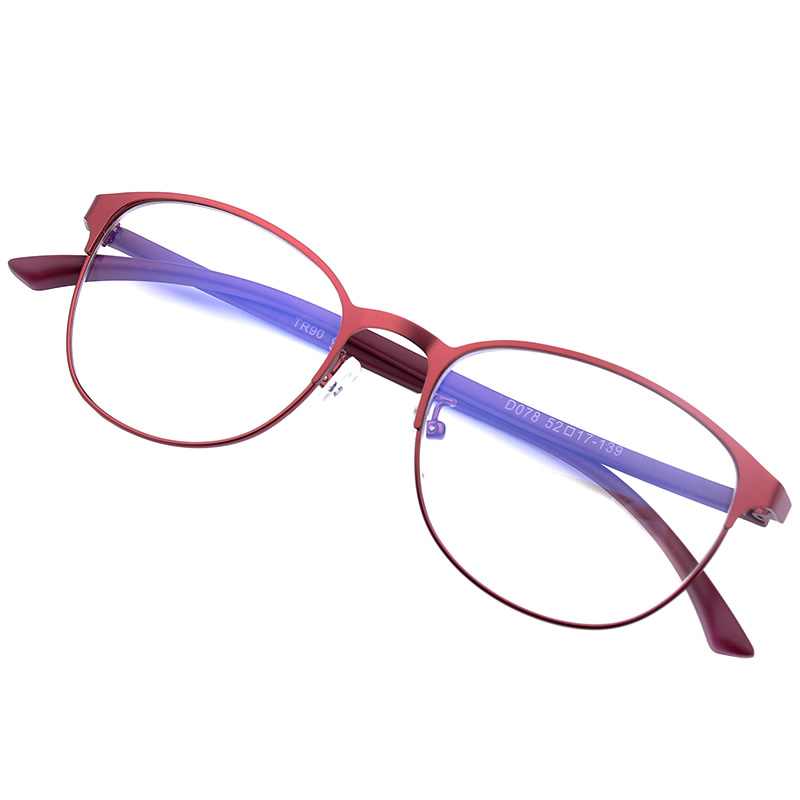 Blu-ray radiation glasses female models custom finished plain glass spectacles myopia full frame glasses frame round