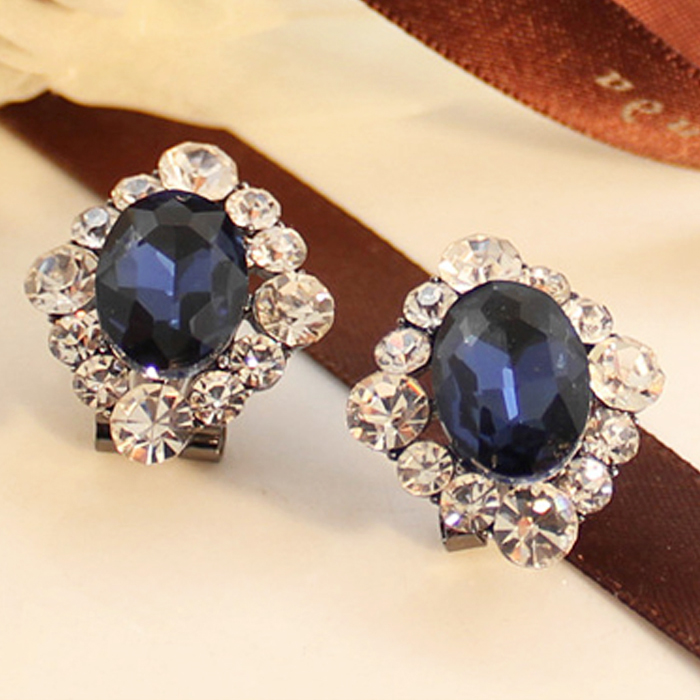Blue crystal earrings without pierced ear clip earrings korean women retro earrings female models in europe and america against excessive min earrings korean korean