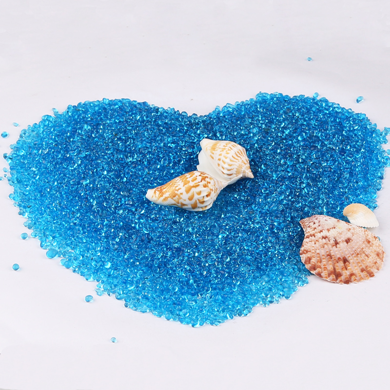 Blue glass beads glass sand aquarium fish tank decorative landscaping aquarium sand bottom jewelry color stone landscaping aquarium fish tank bottom sand