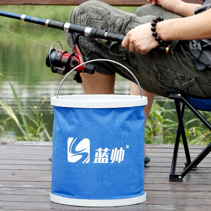 Blue handsome multifunction portable folding bucket car wash bucket outdoor car bucket bucket 11 liters bucket car